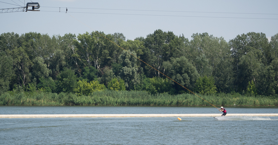 I also went to Dnipro and did water skiing. Here's me about to take a turn.