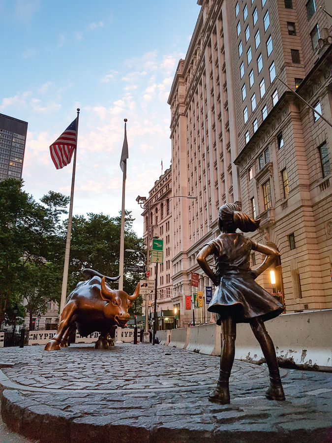 I was able to see the fearless girl, but I found out that a couple months after my visit, they moved the girl. So this shot is already old.