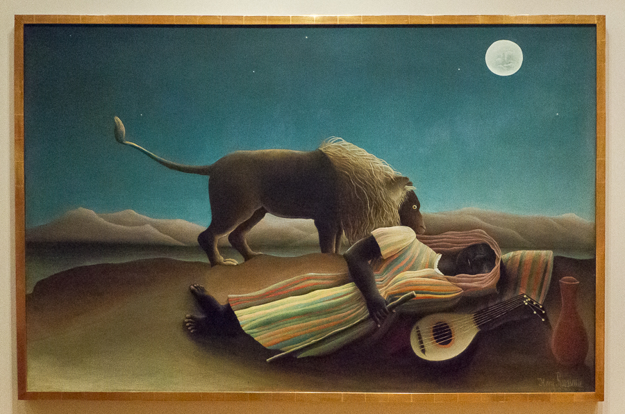 And here is The Sleeping Gypsy by Henri Rousseau, also in the Museum of Modern Art in New York. I learned about him in my first or second year of college, but didn't think I would ever see any of his paintings in real life. I like the childish or simplicity, yet profound, enigmatic and poetic effect of a couple of his paintings.