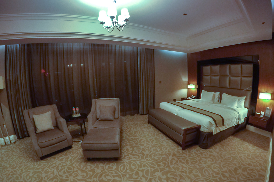 This is my free 5-star hotel room in the Crown Plaza in Doha, Qatar.