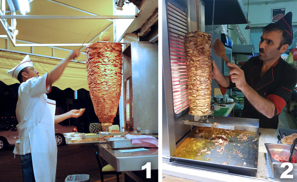 Here you can see the great similitude between both rotisseries. Image one is a picture of a cook preparing tacos al pastor in Mexico. I found this picture online, sorry I don´t have my own picture of this at the moment (picture by Ing. Jorge. Source: https://flic.kr/p/5u9Zxx). The cook is cutting pineapple from the top of the meat. Image two is a picture I took in Baku, normally served in bread with tomatoes and cucumbers and some sort of non-spicy sauce. Both scenes depicted here are very common in several areas in their respective countries.